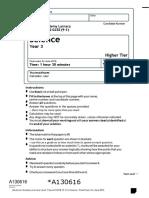 GCSE (9-1) Y9 Science final exam 15_16 with mark scheme