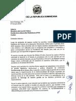 Carta enviada al Comité Político del PLD por 23 senadores