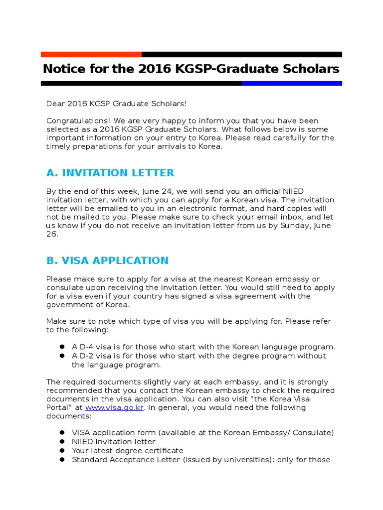 3  Notice for the 2016 KGSP-Graduate Scholars | Travel Visa | South