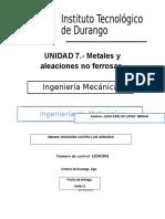 Metales y Aleaciones No Ferrosas.