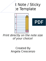 Post It Note Sticky Note Printing Template Blank
