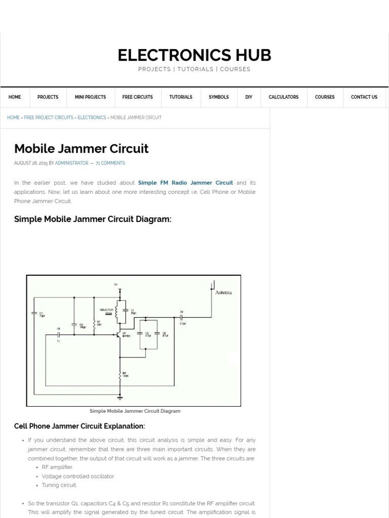 Simple Mobile Jammer Circuit _How Cell Phone Jammer Works
