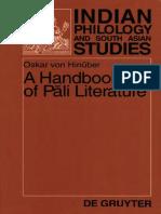 A Handbook of Pali Literature_Hinuber