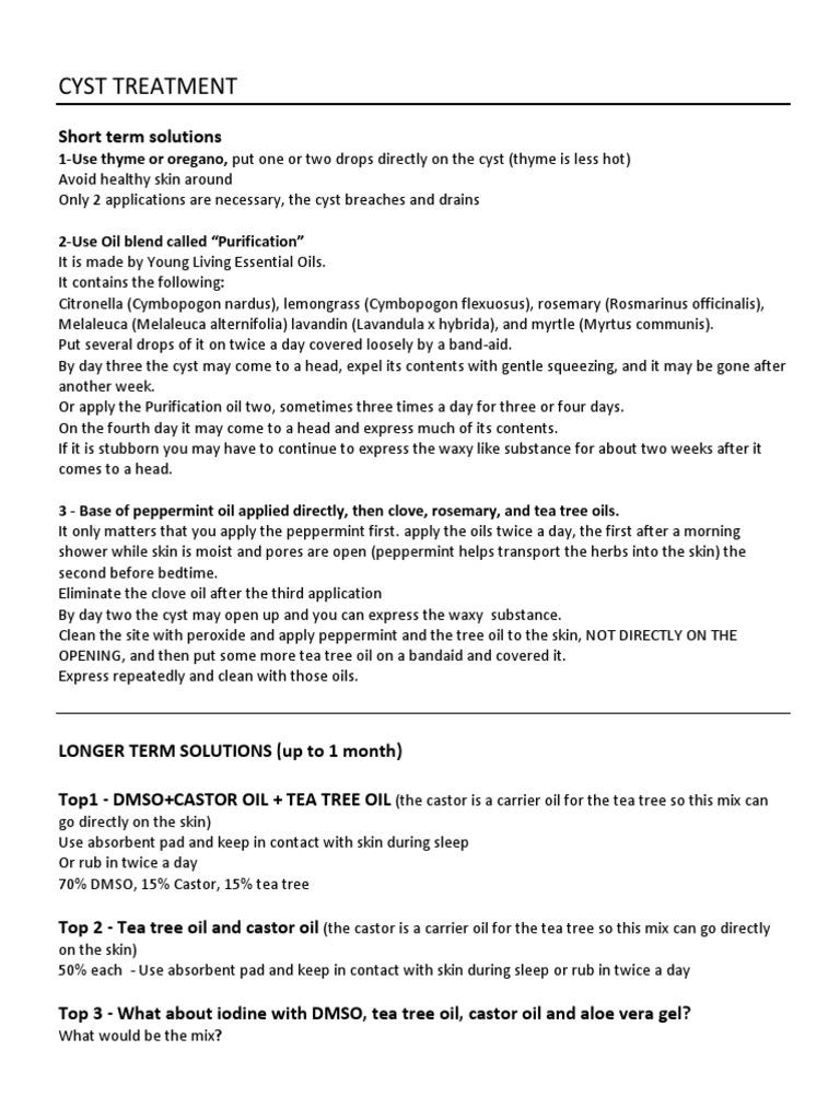 Non-surgical CYST TREATMENT Summary   Dimethyl Sulfoxide