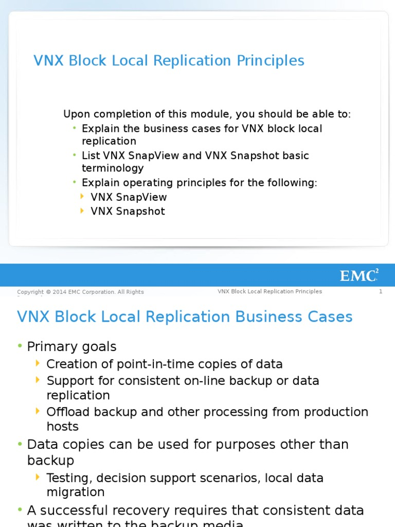 VNX Block Local Replication Principles: Reserved