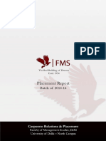 FMS Delhi Placement Report