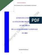 ATTEINTES COMMISES A L'ENCONTRE DES MILITAIRES ET DES BIENS DE LA GENDARMERIE NATIONALE EN 2015