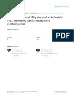 Desalination Feasibility Study of an Industrial NaCl Stream by Bpolar Menbrane Elevtrodiálylis