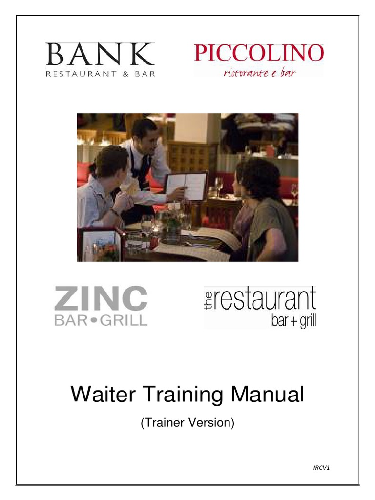 waiter manual ircv1 trainer pdf identity document waiting staff rh scribd com waiter training manual free download waiter training manual free