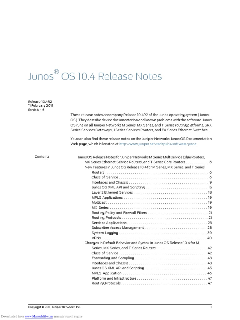 Junos Os 104 Release Notes Rev 6 | Router (Computing) | I Pv6