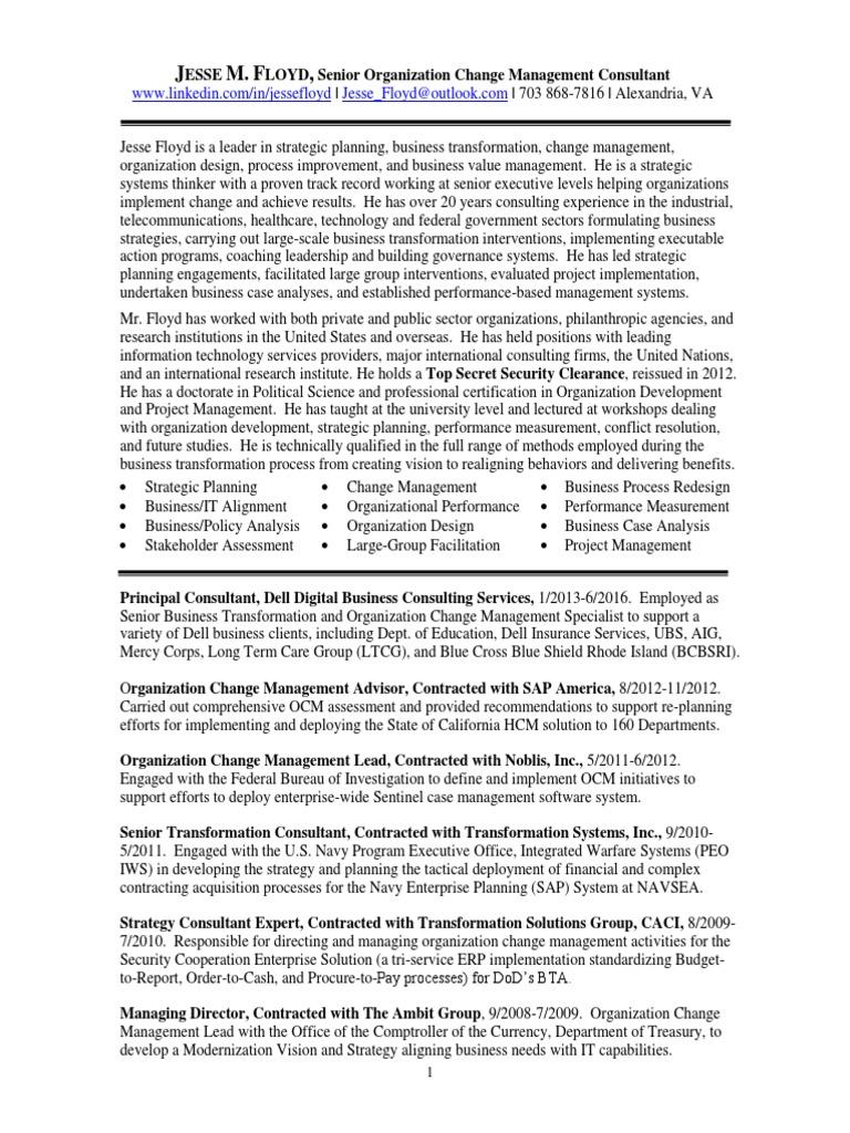 senior change management consultant in washington dc resume jesse floyd