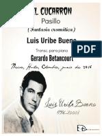 EL CUCARRON. Pasillo. (Fantasía cromática). Luis Uribe Bueno. Transc. G. Betancourt.