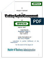 Working Capital Management - IFFCO - Kalol Unit