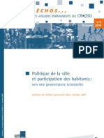 Politique de La Ville Et Participations Des Habitants