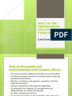 12. Role of the Enforcement Officer and Food Safety