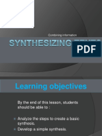Week 5 Synthesizing