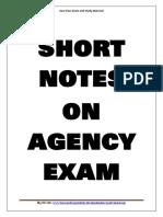 Short Notes on Agency Examination