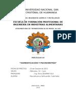 Práctica 4 - Humidificacion y Psicrometria