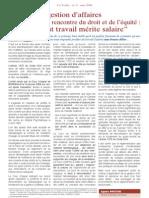 La gestion d'affaires ou la rencontre du droit et de l'equite - Tout travail merite salaire (mai 2008)