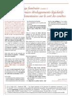 Le litige funeraire (suite) - les derniers developpement legislatifs et reglementaires sur le sort des cendres (octobre 2009)