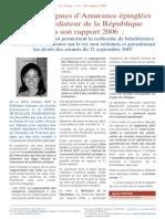 Les compagnies d'assurance epinglees par le Mediateur de la Republique dans son rapport 2006 (novembre 2007)