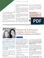 Reforme de la protection juridique des personnes - le Decret nouveau est arrivé! (avec Me Elisabeth Granier-Zarrabi - janvier 2009)