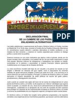 Declaracion Final Cumbre Pueblos- Enlazando Alternativas IV