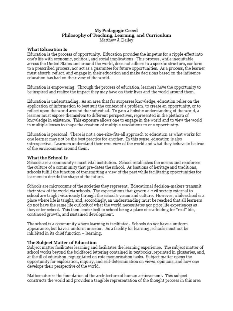 my pedagogic creed thesis