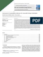 Evaluacion de Indicadores de Sostenibilidad Para Tecnologias
