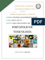 Portafolio de Toxicología - Diarios de Campo