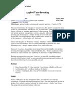 EMBA Applied Value Investing (Ajdler) SP2016