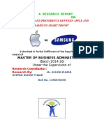 "A  RESEARCH  REPORT                                           ""STUDENTS BRAND PREFERENCE BETWEEN APPLE AND SAMSUNG SMART PHONE"""