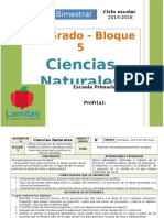 Plan 6to Grado - Bloque 5 Ciencias Naturales