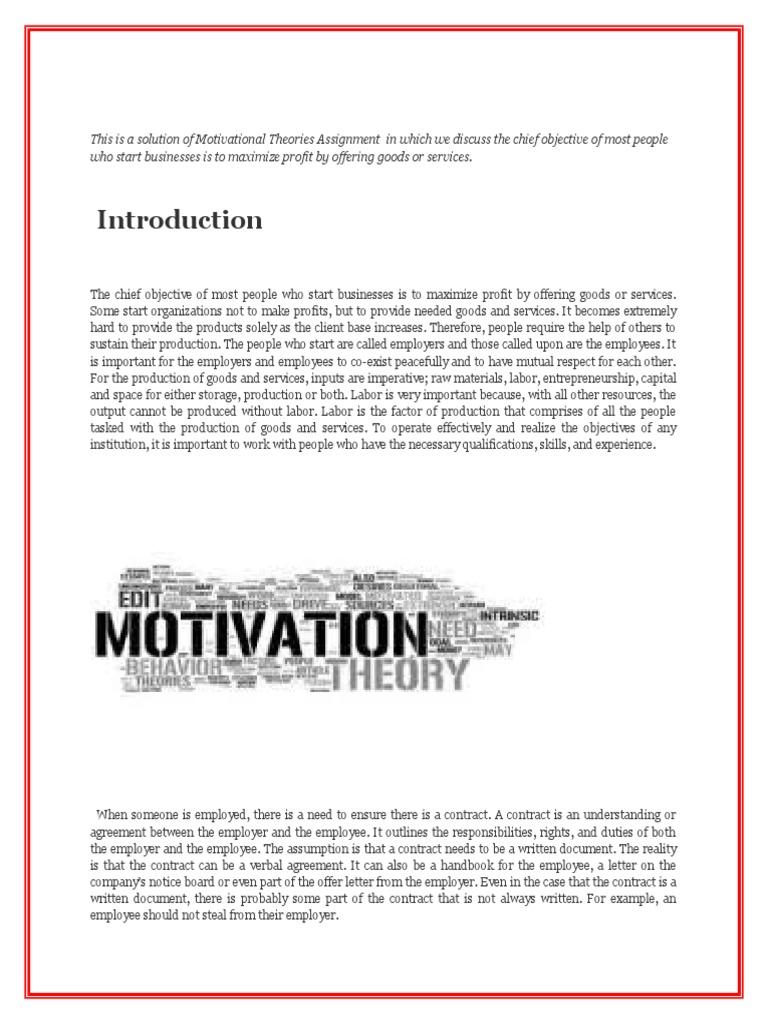 motivational theories assignment self improvement motivation