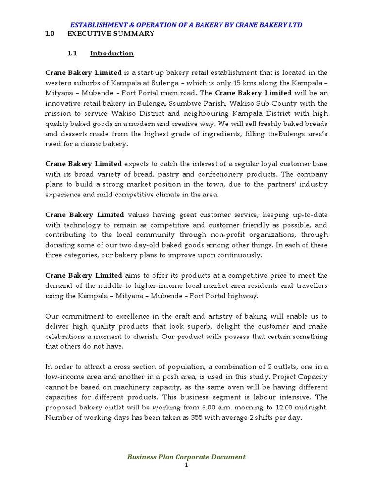 Crane Bakery Ltd Business Plan Doc Supermarket – Bakery Business Plan