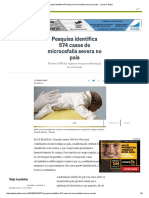 Pesquisa Identifica 574 Casos de Microcefalia Severa No País - Jornal O Globo