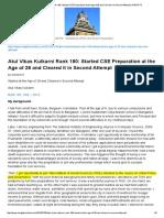Atul Vikas Kulkarni Rank 180_ Started CSE Preparation at the Age of 28