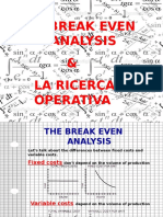 The break even analysis & la ricerca operativa