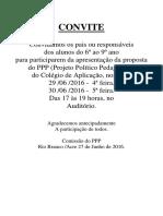 Convite - Apresentação Do PPP Para Os Pais - 6º Ao 9º Ano - 27.06.2016
