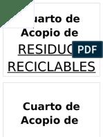 Rotulo Cuarto de Residuos