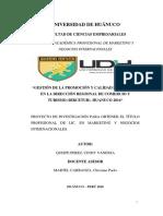 """""""GESTIÓN DE LA PROMOCIÓN Y CALIDAD DE SERVICIO EN LA DIRECCIÓN REGIONAL DE COMERCIO Y TURISMO (DIRCETUR)- HUANUCO 2016"""""""