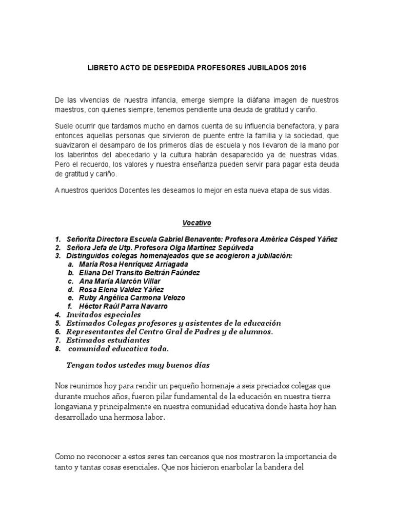 Libreto acto de despedida profesores jubilados 2016 for Carta de despedida para una maestra de jardin