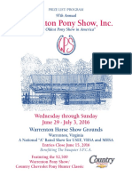 2016 Warrenton Pony Show program