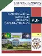 Plan Operacional Respuesta Emergencia Tormenta y Huracan 2014