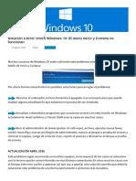 Solucion Al Error Critico de Windows 10-El Menú Inicio y Cortana No Funcionan