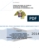 Determinacion Del Peso Unitario Del Agregado Grueso y Fino