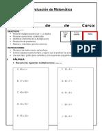 4 Evaluacion de Matematica Multiplicacion