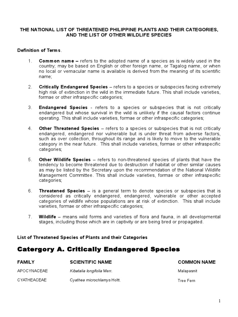 THE NATIONAL LIST OF THREATENED PHILIPPINE PLANTS AND