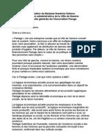 """Discours à l'AG de """"Partage"""""""