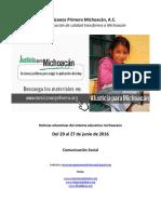 Noticias del sistema educativo michoacano al 27 de junio de 2016